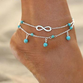 Turquoise and Infinity Anklet