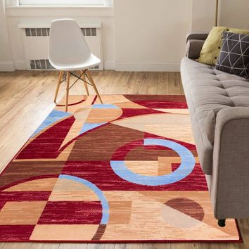 5082 Red Abstract Contemporary Area Rugs