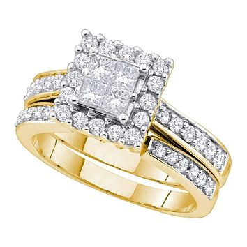14kt Yellow Gold Women's Princess Diamond Square Halo Bridal Wedding Engagement Ring Band Set 1.00 Cttw - FREE Shipping (US/CAN)