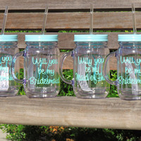 wedding mason jars, acrylic mason jars, monogrammed mug, will you be my bridesmaid cup, personalized mason, plastic mason, drinking cup