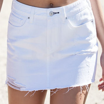 PacSun Destructed Denim Mini Skirt at PacSun.com
