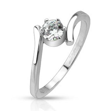 Prong CZ Solitaire Swirl Wrapped Band Ring Stainless Steel