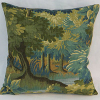 """Green Forest Pillow 17"""" Square Trees and Leaves Robert Allen Scenic Flora in Tapestry Verdure Blue Olive Gold Brown Linen Blend  Ready Ship"""