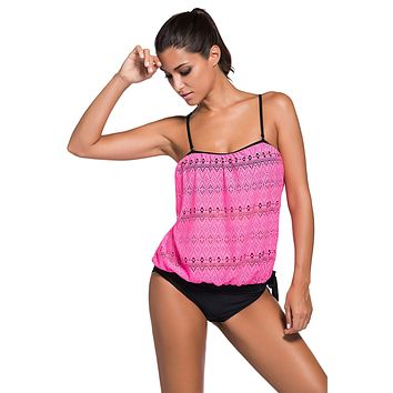 Rosy Lace Overly 2pcs Bandeau Tankini Swimsuit