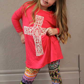 Kids Pink Tunic Shirt with Lace Cross