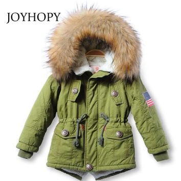 Girls Thick Winter Fur Trimmed Hooded Parka Coat
