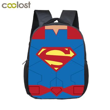 12 Inch Comics Superhero Logo Backpack For Children School Bags Superman Spiderman Batman Kids Kindergarten Backpack Boys Bag