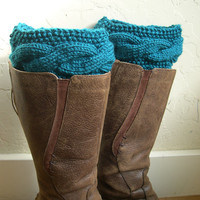 SALE 10% OFF - Teal Boot cuffs - Teal Legwarmers - boot toppers - Winter Fashion 2013 - Knit boot tops - Machine Washable - Teal boot tops