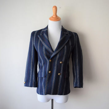 50s Navy Wool Blazer Double-Breasted Suit Jacket w Red & White Stripes // Classic Preppy Style, Chic Fall Fashion, Dandy Mod Teddy Girl S/XS