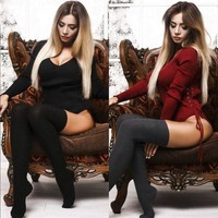 Women V-Neck Long Sleeve Sweater Pullover Stretch Bodysuit Leotard Knit Lady Tops