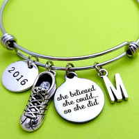 Personalized, Letter, Initial, 2016, Marathon, Bangle, Bracelet, She believed, She chould, So she did, Runner, Bangle, Gift, Jewelry