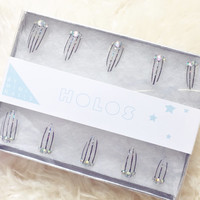 Clear Holographic Silver Pinstripes Press On Nails