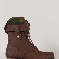 Surprise-01U Camouflage Cuff Military Lace Up Boot