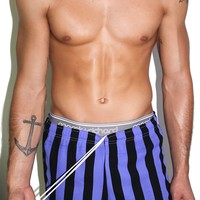 Nightmare Striped Running Shorts-Purple