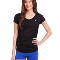 U.S. Polo Assn. Women's Short Sleeve V Neck T-Shirt with Side Panels