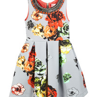 Sleeveless Floral Pleated Ponte Dress, Gray, Size 7-14,