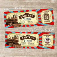 Train Ticket Invitation Vintage Train Ticket Birthday Invitation Invitations Steam Engine Passenger Trains Party Invite red teal Locomotive