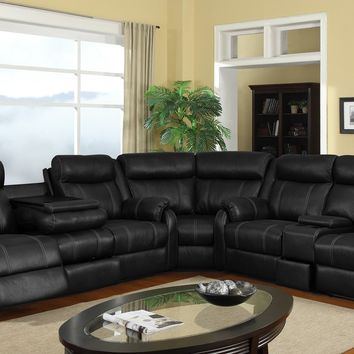 Onyx Reclining Sectional with Cupholder & Storage