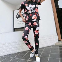 DCCK6HW Adidas' Women Casual Letter Multicolor Flower Print Stripe Short Sleeve Trousers Set Two-Piece Sportswear