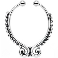 Beaded Butterfly Non-Pierced Clip On Septum Ring