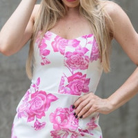 White Floral Print Sphaghetti Strap Bodycon Dress