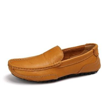 Genuine Leather Hollow Out Summer Luxury Flats Loafers Men Shoes Boat Casual Fashion Slip On Driving Breathable