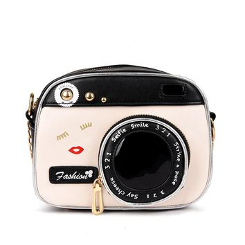 Personalized fashion lovely camera design unique shape clutch women shoulder bag ladies casual small messenger bag purse 2017