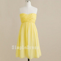 Beach Sweetheart Sleeveless Knee-length Chiffon Ruffles Short Bridesmaid/Evening/Party/Homecoming/Prom/Cocktail Dress 2013 New Arrival
