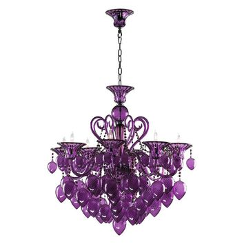 Bella Vetro Murano Glass 8 Light Chandelier | Purple