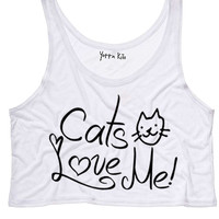 Cats Love Me Crop Tank Top