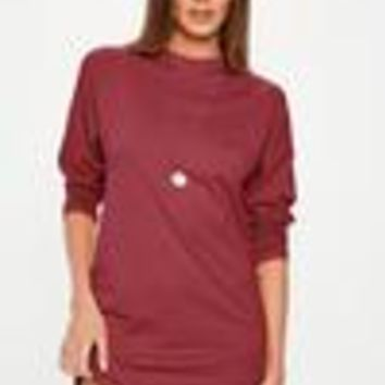 Missguided - Burgundy Long Sleeved T-Shirt Dress