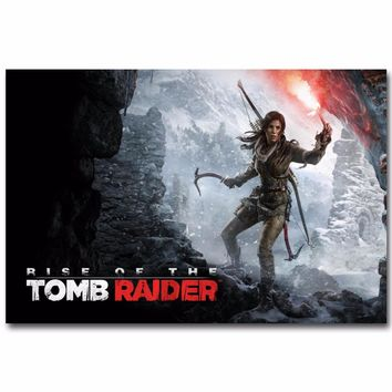 J3071- Rise of The Tomb Raider Hot Game Lara Croft Pop Silk Art Poster Top Painting For Home Decor Wall Decoration Light Canvas