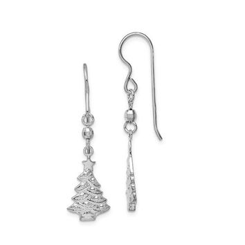 Sterling Silver Rhodium-Plated Christmas Tree Dangle Earrings, 42mm