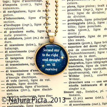 Peter Pan second star to the right necklace - antique brass color - 1 inch circle glass pendant included ball chain - by NATURA PICTA