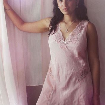 Lace Cutout Slip Dress in Baby Pink - Vintage, size medium 🌟Ships Next Day🌟