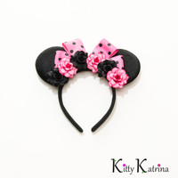 Hot Pink and Black Minnie Mouse Ears Headband, LED Headband, Mouse Ears Headband, Minnie Ears, Disney Bound, Disney Headband, Disney Cosplay