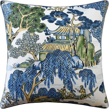 Asian Scenic Blue and Green Pillow