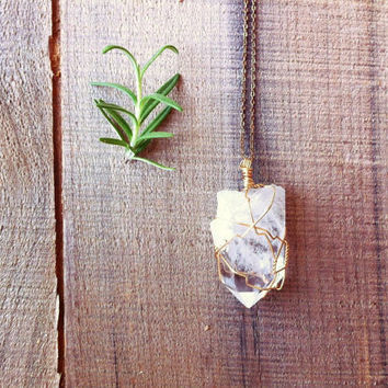 Quartz Crystal Point Pendant / Rustic Winter Mineral Necklace / Valentine's Day Jewelry