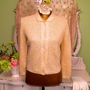 Medium - 1950s Cream Beaded Sweater - 50s Sequined Cardigan - Aurora Borealis Sequins - Rockabilly Jacket - Retro Wool sweater - Excellent