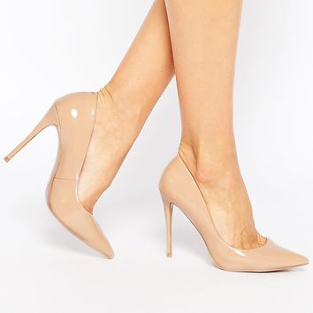 ALDO Stessy Pale Pink Leather Heeled Court Shoes
