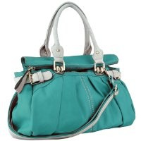 Teal Oversized Zipper Top Closure Double Handle Soft Hobo Office Tote Daybag Bowler Satchel Handbag Purse