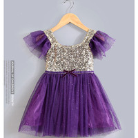 "The ""Lexi"" Infant + Toddler + Girls Purple and Gold Sequin Tutu Dress"