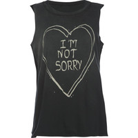 Full Tilt I'm Not Sorry Girls Muscle Tee Grey  In Sizes