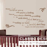 "Vinyl Wall Decal - And Babies Don't Keep, Inspirational Ruth Hamilton's ""Song for a 5th Child"" Quote"