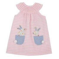 Mud Pie Baby Girls' Bunny Stripe Sleeveless Casual Pocket Dress 3-6 Months