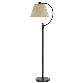 Cal Lighting BO-2449FL-DB Kinder Dark Bronze Metal Arc Floor Lamp with Burlap Shade