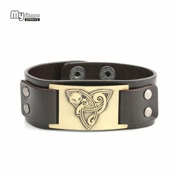 My Shape Vintage Fox Mental Accessories Handmade Bangles Leather Bracelets Jewelry Gifts For Lover and Men 3 Tone To Choose