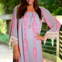 Desert Lightning Dress, Grey/Pink