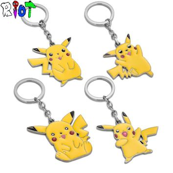 4 types  Go Yellow Pikachu KeyChain Cartoon keyring Pocket Monsters cute accessories for car alloy key chains Key holderKawaii Pokemon go  AT_89_9