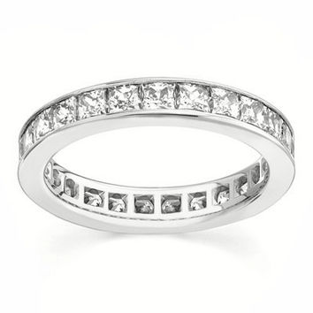 Classic & Elegant 2TCW Princess Cut Russian Lab Diamond Wedding Bands Stacking Ring